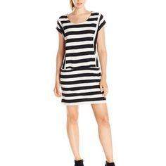 Roxy black & cream striped shift dress Cute and comfy! Black and cream bold stripes. Mid weight tee shirt knit (cotton/viscose blend) with a moderate amount of stretch. Scoop neck, cap sleeves. Pockets! Junior size L; true to size, in my opinion. NWT; never worn. Roxy Dresses