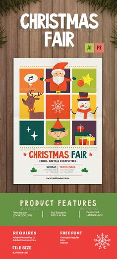 Christmas Fair Flyer Template PSD, AI #design Download: http://graphicriver.net/item/christmas-fair-flyer/13885953?ref=ksioks