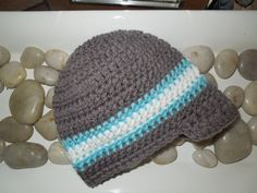 Knit Baby Boy Hat Gray and Blue Visor Hat by HippityHoppityHats, $17.00