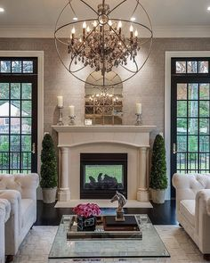 """A closer look at the beautiful living room shown in previous photo. From the see-through fireplace, to the stunning wallpaper and that gorgeous oversized…"""