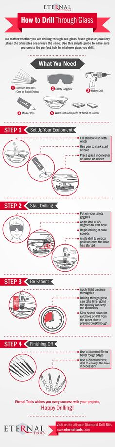 How to Drill Through Glass Infographic by Eternal Tools. 4 easy illustrated steps for use when drilling through sea glass, beach glass and fused glass. The principle is the same no matter what glass you need to drill through (except tempered glass) Mosaic Glass, Fused Glass, Glass Art, Stained Glass, Drilling Glass, Dremel Projects, Dremel Ideas, Craft Projects, Sea Glass Crafts