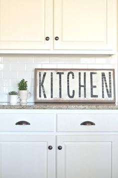 My friend Tara makes the best signs!!kitchen sign-between you and me on Esty