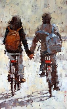 Bicycle photography wedding engagements, holding hands while riding bicycles, first love - Andre Kohn Art And Illustration, Art Amour, Bicycle Art, Bicycle Design, Inspiration Art, Cycling Art, Cycling Quotes, Cycling Jerseys, Beautiful Paintings