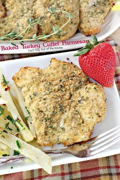 This lovely main dish uses sliced turkey cutlets breaded with Italian bread crumbs, seasonings and parmesan cheese. Turkey Cutlet Recipes, Cutlets Recipes, Turkey Recipes, Turkey Tenderloin, Turkey Cutlets, Parmesan Recipes, Baked Chicken Recipes, Cooking Recipes, Healthy Recipes