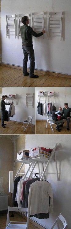 Folding Chairs in to Hangers?!! I love this idea!