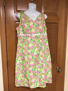 19d273907074 Lilly Pulitzer Staci Sleeveless Dress Lime Green Pink Rhino Rhinodendrum 12  VGUC