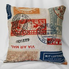 Linen Pillow Throw Cover - Decorative Traveler Stamp Pillow Cover in Red Blue Gold Travel Bedroom, Travel Nursery, Travel Wall, Linen Pillows, Decorative Throw Pillows, Decor Pillows, Red Pillows, Linen Fabric, Accent Pillows
