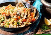 Κριθαράκι με λαχανικά και θαλασσινά(4 μονάδες)
