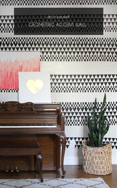 love this pattern! DIY geometric accent wall made using adhesive vinyl