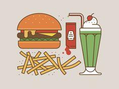 Burger, Chips and Milkshake