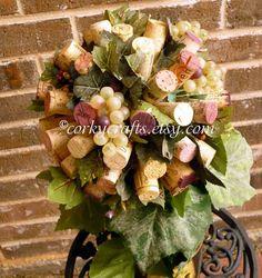 Wine cork topiary centerpiece