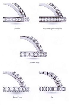 Channel setting, bead and bright-cut, pinpoint setting, surface prong, shared prong, bar setting, scallop setting, fishtail setting, pave setting, bezel setting, gypsy setting, flush setting