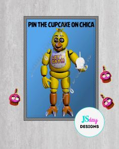 Pin the Tail Game; FNaF; Five Nights at Freddy's party supplies; Chica; Cupcake: Pin the Cupcake; party games by JSdayDesigns on Etsy