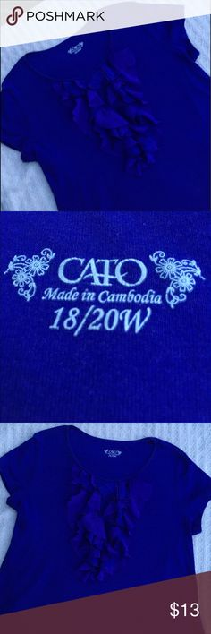 CATO PRETTY PURPLE BLOUSE WITH DRESSY RUFFLE 🌺....THE FEEL OF A TEE BUT THE LOOK OF MORE....PRETTY IN PURPLE....CATO PURPLE RUFFLED TEE, PERFECT FOR WORK,  Wear with a cardi/blazer or alone.  60% cotton and 40% modal.  Stored in a smoke free home. Cato Tops Blouses