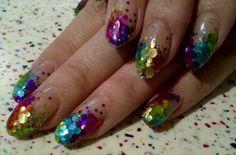 rainbow glitter nails sparkle-and-shine