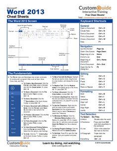 Microsoft Word 2013 Cheat Sheets