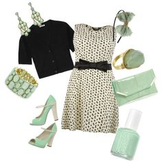 """""""Ivory and Mint Dressy Summer (Plus SIze)"""" by ashinman on Polyvore ~ This has a little TOO MUCH mint, but shows what a nice accent it is to neutrals."""