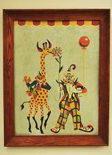 Vtg rare Framed Paint By Number circus clown and giraffe original frame  9 x 12