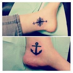 Best friend tattoos ... Meanings: compass - be the one to guide me.  Anchor - but never hold me down.