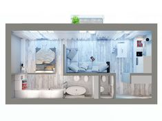 Wardrobe behind the bed Small Apartment Plans, Studio Apartment Floor Plans, Small Apartment Design, Apartment Layout, Sims House Plans, Small House Plans, House Floor Plans, House Floor Design, Small House Design