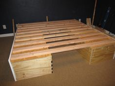 Because of concern regarding mold in high humidity areas, this builder modified Ana White's plans for a storage platform bed. These plans call for slats to go across the entire width in order to increase air circulation under the mattress. Diy Projects To Try, Wood Projects, Tent Camping Beds, Glamping, Box Building, Building Plans, Bed Storage, Storage Crates, Cabin Tent