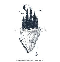 """Hand drawn inspirational badge with textured forest vector illustration and """"Be wild and wander"""" lettering."""