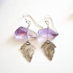 amethyst sterling silver earrings /// purple amethyst dangle