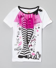 LittleMissMatched White Legs In Tights Tee | zulily