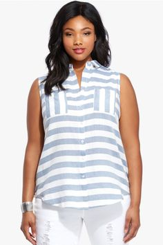 Oxford Wide Stripe Shirt    $32.90 | Wide stripes lend a nautical note to our summery, plus-size Oxford shirt, crafted in lightweight fabric and finished with classic tailored detailing. Point collar, sleeveless, button placket, patch chest pockets.