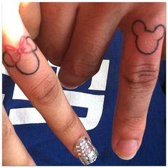 Minnie and mickey Finger tattoo