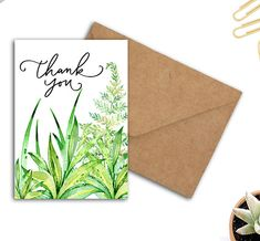 Green Watercolor Leaves Printable Thank You Card For Teacher Women Parents Employee