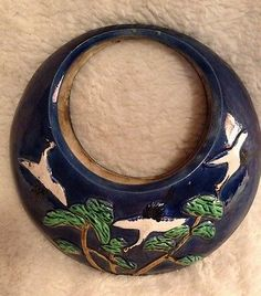 Vintage Made in Japan Colorful Cranes Birds Hanging Planter Round Moon Like | eBay