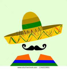 hispanic man with sombrero and large mustache - stock vector