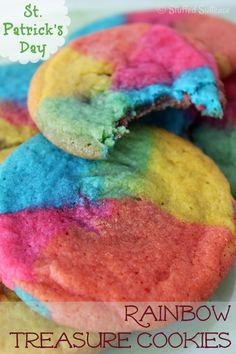 Fun candy center surprise recipe! Make these rainbow cookies for St. Patrick's Day or dessert any day! | StuffedSuitcase.com