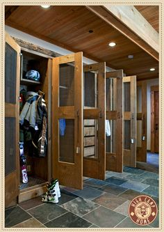Interior Design - High Camp Home: Everyone has their own little section for coats, boots, helmets and skis