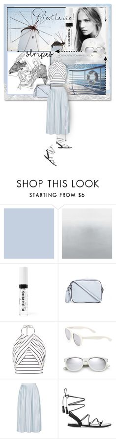 """""""The stripes in the sky"""" by kseniz13 ❤ liked on Polyvore featuring Tory Burch, Christian Dior, Whiteley, Boohoo, Yves Saint Laurent, Topshop, Anine Bing, blueandwhite, stripes and longSkirt"""