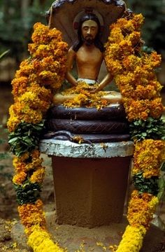 Tamil Nadu, Statue of Jesus Christ sitting in lotus position in a catholic ashram in South India