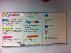 Objective, Agenda, HW Board.  I think this display would be very beneficial in a special education secondary setting.  Having a visual reminder of what the focus of the day or lesson is can be very beneficial and often over-looked in these classrooms.  Read more about using this strategy at: http://missklohnsclassroom.blogspot.com/search/label/classroom%20management