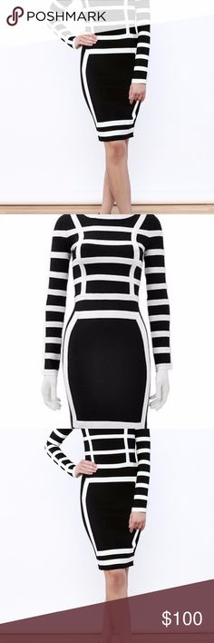 Gracia Bandage Dress size Medium - Negotiable - come in with your best offer...High quality bandage dress size medium Black and white... worn once..still has the tag (because I forgot to pull it ;) Gracia Dresses Midi