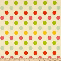 Riley Blake Medium Dot Cream/Multi from @fabricdotcom  Designed by RBD Designers for Riley Blake Designs, this cotton print fabric is perfect for crafts, quilting, apparel and home décor accents. Colors include hot pink, orange, aqua, yellow and cream.