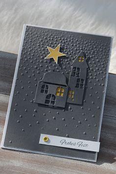 Das sieht doch heimelig aus oder? Weihnachtskarte mit Häusern