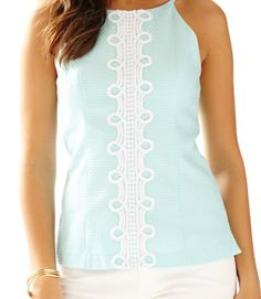 Lilly Pulitzer Annabelle Halter Top in Whisper Blue