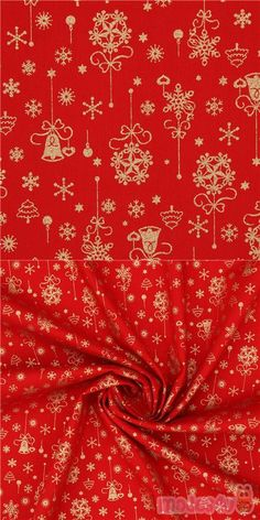 "red cotton fabric with metallic gold embellishment, with Christmas decorations, snowflakes, Xmas trees, bells etc., Material: 100% cotton, Pattern Repeat: ca. 15.8cm (6.2"") #Cotton #Items #Metallic #Christmas #JapaneseFabrics Christmas Fabric, Red Christmas, Xmas Trees, Xmas Decorations, Metallic Gold, Fabric Patterns, Repeat, Snowflakes"