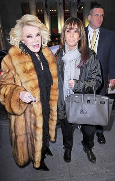 Joan Rivers looking sexy in golden sable fur coat