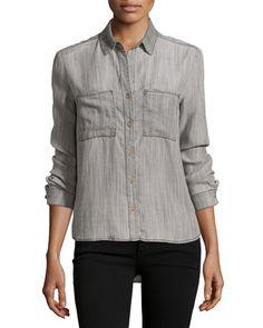 Velvet Heart Harper Button-Down Blouse, Brushed Gray  New offer @@@ Price :$98 Price Sale $69