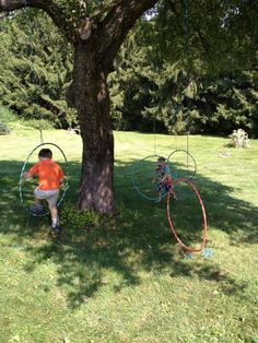 jump thru hoops (one part of a fun obstacle course):