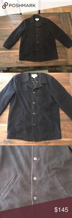 J. Crew Navy Blue Wool PeaCoat 80% wool 20% Nylon  Lining: 100% Acetate Fill: 65% Olefin, 35% Polyester  Length (shoulder to hem): 34 in Armpit to armpit (when buttoned): 25 in J. Crew Jackets & Coats Pea Coats