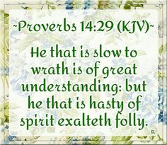 Proverbs 14:29 KJV Proverbs Kjv, Love Dare, King James Bible Verses, Jesus Lives, Prayer Warrior, Anger Management, Word Of God, Bible Quotes, Wisdom