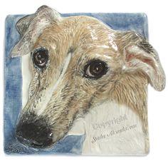 Greyhound Ceramic dog tile bas-relief handmade sculpture Sondra Alexander Art