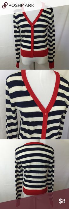 Lightweight Striped Cardigan Payapa Button White/navy/red button front cardigan. Papaya size Large (women's medium). Poly/cotton machine wash. Papaya Sweaters Cardigans